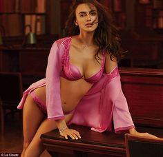 Irina Shayk oozes sex appeal as she strips down to red satin bra with gold lace trim and skimpy pants for racy lingerie shoot | Daily Mail Online