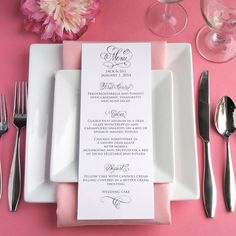 DIY Beautiful hand written wedding menu. Calligraphy printable for a bride on a budget. Just add your text below the calligraphy via easy to use template for $10.00
