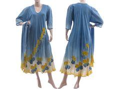 Artistic hand dyed long dress maxi dress in blue von classydress