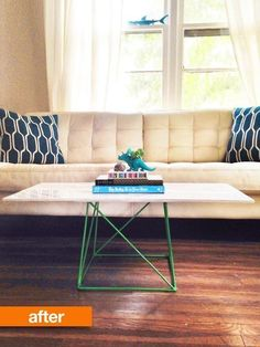 Before & After: Target Stool Transforms into Table   Apartment Therapy living room marble coffee table hack--easy and cheap...I want that base to be brass though