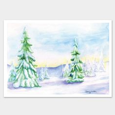 Christmas Watercolor Cards Landscape Trees Set of 10