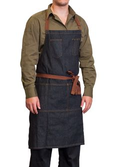 Fremont hospitality clover green shirt with the Memphis denim apron. Perfect for any cafe or restaurant. Front of house staff. Perfect for an individual or team. Male and female styles available. Available as a brown shirt.