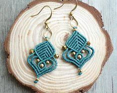 macrame earrings, hoop earrings, macrame jewelry (A20)
