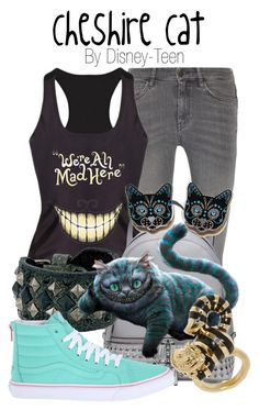 Cheshire Cat by disney-teen on Polyvore featuring polyvore fashion style M.i.h Jeans Vans MICHAEL Michael Kors Frye clothing disney aliceinwonderland disneybound disneyfashion