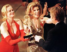 Cybill Shepherd and Christine Baranski present an Emmy to Alan Rickman for outstanding lead actor in Rasputin, 1996