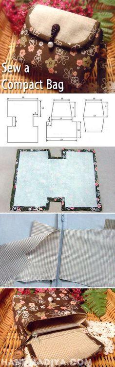 Sew a compact bag. DIY tutorial with patterns. http://www.handmadiya.com/2014/06/blog-post_6.html