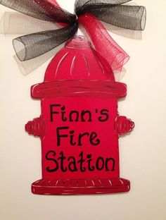 Fire hydrant door hanger fire fighter door by Furnitureflipalabama