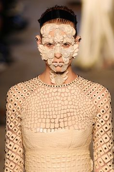 Legendary makeup artist Pat McGrath created these beautiful face masks for Givenchy - Runway - Spring 2016 New York Fashion Week