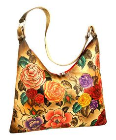 Another great find on #zulily! Purple & Yellow Floral Hand-Painted Leather Hobo by Biacci #zulilyfinds