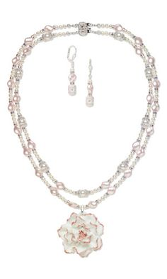 Double-Strand Necklace and Earring Set with Porcelain Focal and SWAROVSKI ELEMENTS - Fire Mountain Gems and Beads