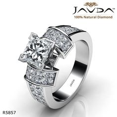 Classic Sidestone Invisible Princess Diamond Engagement Ring 14k White Gold.