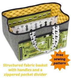 How to sew a fabric basket with a zippered pocket as a divider. Great for keeping my sewing projects organised.