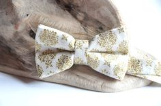 Gold Groom Bow Tie. Ivory Bow Tie.  Pre Tied by WingedBowTies