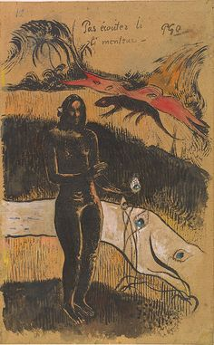 Paul Gauguin -  Nave Nave Fenua (Delightful Land), probably 1894, brush, gouache, and india ink with pen and india ink on dark tan wove paper,...