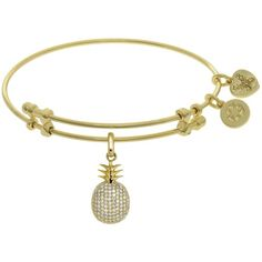 7.25 Adjustable Yellow Brass CZ Pineapple Charm Angelica Bangle... (125 ILS) ❤ liked on Polyvore featuring jewelry, bracelets, brass bangle bracelet, cz bangle bracelet, bangle bracelet, charm jewelry and hinged bangle