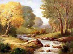 Resultado de imagem para pintura em tela paisagem com agua