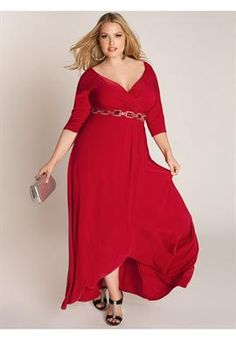 Plus Size Nadine Jeweled Gown in Ruby