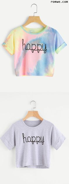 Crop Tops 822329213181531001 - Water Color Letter Print Cuffed Tee Source by Crop Top Outfits, Cool Outfits, Summer Outfits, Casual Outfits, Teen Fashion, Fashion Outfits, Cute Crop Tops, Cropped Tops, Diy Shirt