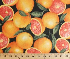 Cotton Grapefruit Food Fruit Sliced Allover Black Cotton Fabric Print by the…