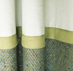 Like the nubby fabric combined with solid fabric Drapes And Blinds, Drapes Curtains, Drapery, Curtain Styles, Curtain Designs, Window Coverings, Window Treatments, Rideaux Design, Drop Cloth Curtains