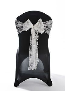 100 White Lace Chair Cover Sash Bow Wedding Party UK   eBay - 184 pounds total - But I think buying lace wholesale downtown will be better option, just more time and work...