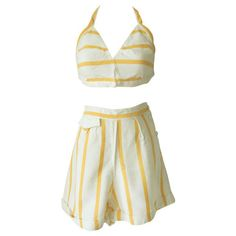 Luxury utility marked 1940s stripe cotton beach suit ($92) ❤ liked on Polyvore featuring 1940s and vintage