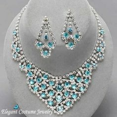 Malibu Turquoise Blue Crystal Bridal Prom Elegant Jewelry Necklace Set 8 colors available $24.99