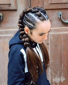 Pull through braids as pigtails with cornrows