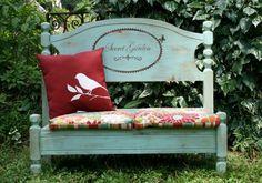 """Secret Garden"" bench from old bed"