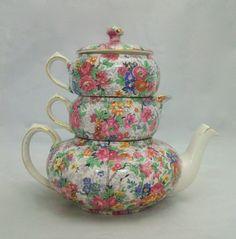 """Marina"" Chintz Stacking Tea Pot- Christmas present?!?! :)"