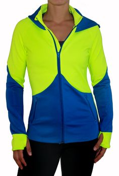 The Royal Blue and Neon FIT Jacket! It has thumb holes! :D Great for a run in the eve; from KIAVAclothing :)