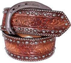 Brown Floral Tooled Belt (Double J Saddlery)