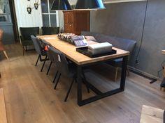 Stoere tafel hout en staal