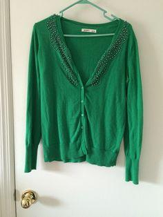 Own - green beaded cardigan