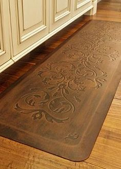 Tuscan style mat for the kitchen! Prepare meals in comfort atop the Frontgate Comfort Mat that boasts a thick elastomeric and resilient core that helps prevent joint strain. Carpet Diy, Stair Carpet, Hall Carpet, Carpet Tiles, Kitchen Comfort Mat, Kitchen Mats, Kitchen Sink, Kitchen Area Rugs, Kitchens