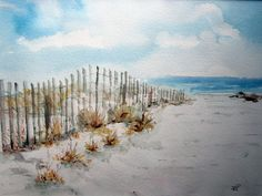 beach watercolor paintings | Beach Walk, Print of Original Watercolor Painting matted 8x10 and ...