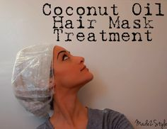 Coconut Oil Mask: rub it in hands to melt, put in hair, comb through, wrap in hot towel for 30-40 mins rinse 2 with shampoo, try once a week!!