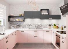 Nova loft - façades en mélaminé mat gris orage et en stratifié rosy Loft, Gris Rose, Double Vanity, Kitchen Cabinets, Home Decor, Pastel Colors, Kitchen Armoire, Decoration Home, Room Decor