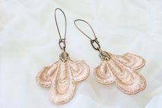 lace earrings TROIS ecru by tinaevarenee on Etsy