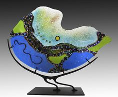 Turquoise Nautilus by Karen Ehart: Art Glass Sculpture available at www.artfulhome.com