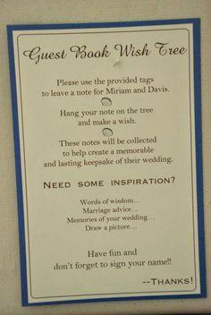 wedding wishing tree ideas   Mrs Corn's DIY Guest Book Wish Tree Sign « Weddingbee Gallery