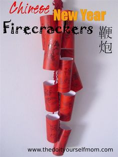 The Do It Yourself Mom: Chinese New Year Preschool Craft: Firecracker Decorations Chinese New Year Crafts For Kids, Chinese New Year Activities, Chinese New Year Decorations, Chinese Crafts, New Years Activities, New Years Decorations, Chinese New Year Party, Chinese Holidays, New Years Party