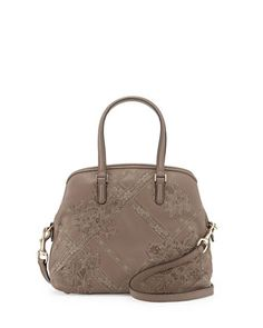Leather & Lace Satchel Bag, Tan by Valentino at Neiman Marcus Last Call.
