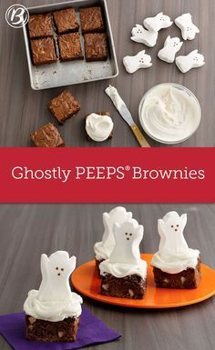 These super-cute ghosts are sure to be the, ahem, life of the Halloween party treat table. If you're feeding a crow Halloween Desserts, Halloween Party Treats, Fete Halloween, Halloween Goodies, Halloween Boo, Halloween Birthday, Holiday Treats, Holiday Recipes, Halloween Cupcakes