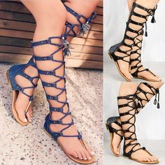 Summer Sandals Flat Women Shoes Zipper Knee High Gladiator Sandals Flat  Gladiator Sandals, Shoes Sandals 6247bb0e8535