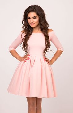 dc2518990c Sukienkowo.pl - VANESSA - rozkloszowana sukienka bez ramion różowa