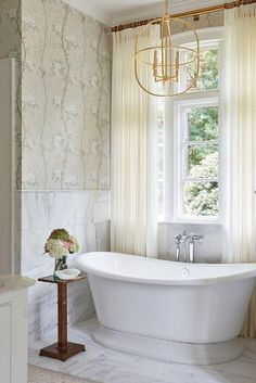 The perfect space to relax and recharge for the week ahead 🛀 💡 Desmond Open Oval Lantern by Chapman & Myers. Design by @maggiegriffindesign. #bathroom #interiordesign #chapmanandmyers #circalighting Interior Design Companies, Luxury Interior Design, Lantern Designs, Tiny Bathrooms, Circa Lighting, Clawfoot Bathtub, Design Firms, Lighting Design, Light Fixtures