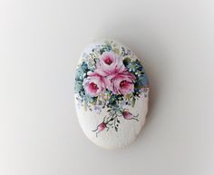 ~ Katherine - hand-painted rock, for giving and for getting, blue, pink, roses, shabby chic