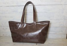 """Brownish Gray Oversized Leather tote bag  Unique, One of a kind , My favorite style- Horizontal Oversized Leather tote is made of very Unique Pull-UP cow Leather!  It is named """" Funagata-tote bag """" in Japanese which is boat-shaped (shaped like a woodenboat ) ."""