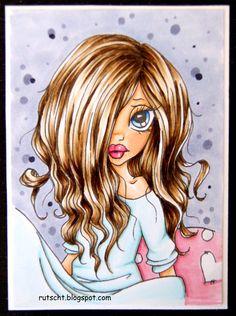 RUTSCHT ~ SC Books and Bedhead ~ Copics: Hair: E41, E43, E44, E47. Skin: E000, E00, E21, E11, E02. Eyes: B00, B28, B23. Background: BV20, BV23. Roses: R81, R83, R85. Blue: BG000, BG00, BG01, W3.